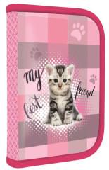 Penál 1patrový s chlopní PLNÝ Junior kočka