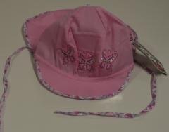 Dívčí klobouk s plachetkou a vázáním vel. 50 - RŮŽOVÝ