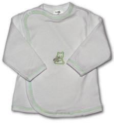 Kojenecká košilka zavinovací VYŠÍVANÁ (BÍLO-ZELENÁ)
