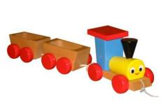 Dřevěný vláček s vagónky tahací