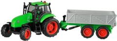 Traktor s vlečkou na setrvačník se zvukem a světlem, kov ŠEDÁ VLEČKA