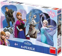 Puzzle ledové království a přátelé Frozen 13x9cm 4x54 dílků