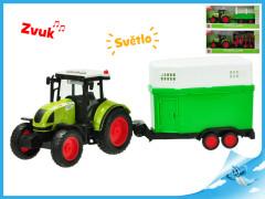 Traktor s vlečkou na setrvačník a baterie se světlem a zvukem