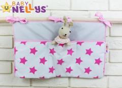 Kapsář k postýlce 50 x 30 cm Baby Nellys Bílá + růžové hvězdičky