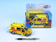 Ambulance se zvukem a světlem, na zpětné natažení 14 cm