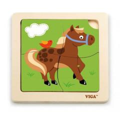 Dřevěné puzzle - kůň 4 dílky Viga