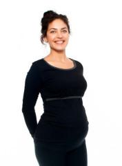 Těhotenské a kojící triko Aldona dlouhý rukáv - Černá
