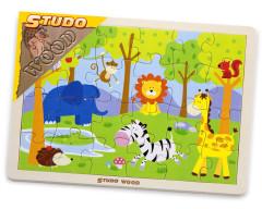 Dřevěné Puzzle safari 24 ks