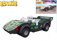 EDUKIE stavebnice auto závodní černé na zpětný chod 111 ks + 1 figurka