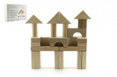 Kostky dřevěné přírodní 50ks v krabičce 12m+