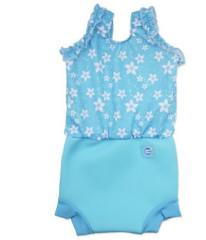 Plavky Happy Nappy kostýmek - Modré květy