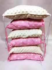 Polštářkový mantinel T-tomi Růžová + hnězdičky+bílá