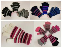 Zimní prstové rukavičky pletené proužkované Vel. L (5 let a více)