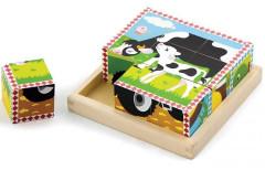 Dřevěné kostky 9 ks - domací zvířata