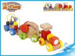 Vláček s vagónky 34cm dřevěný 2-Play 12m+