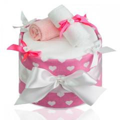 Plenkový dort velký T-tomi, růžová srdíčka