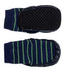 Bačkůrky s podrážkou modrá se zeleným proužkem G-mini vel. 1 - 2 roky