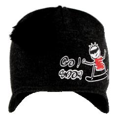 Zimní chlapecká čepice na uši se střapcem šedo-černá RDX