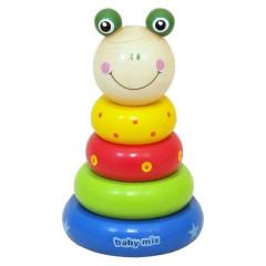 Dřevěná hračka Baby Mix - věž 18+ Žabka