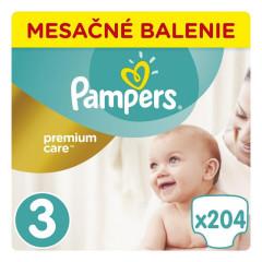 Pampers Premium Care Monthly 3 MIDI 5-9 kg 204 ks
