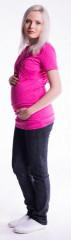 Těhotenské a kojící triko s kapucí, kr. rukáv Malinová