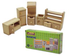 Dřevěný nábytek pro panenky - kuchyně