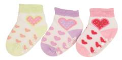 Bavlněné ponožky s protiskluzem srdíčka 0 - 6 měs  - 3 páry - VÝHODNÉ BALENÍ