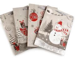 Dárková taška vánoční s glitry 18x24 cm