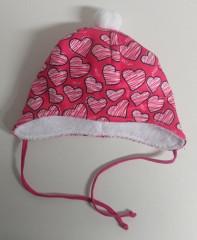 Zimní zavazovací čepice srdce růžová vel. 2 (44-46 cm)