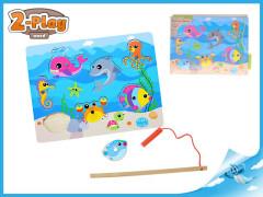 Hra ryby dřevěná magnetická 2-Play