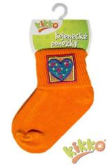 Kojenecké ponožky bavlna KIKKO 0 - 6 měs ORANŽOVÉ typ 88