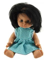 Panenka miminko holčička 30 cm pevné tělíčko tyrkysové šatičky s puntíky