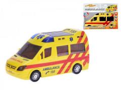 Auto Ambulance plast 21cm narážecí na baterie se světlem a zvukem