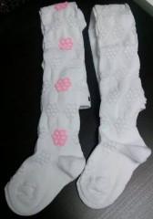 Dětské punčocháče Design Socks vel. 1 (12 - 24 měs) BÍLÉ S VELKÝMI KYTIČKAMI
