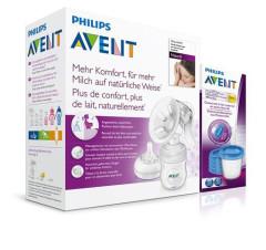 Manuální odsávačka Natural 125 ml + VIA pohárky 180 ml - 5 ks Avent