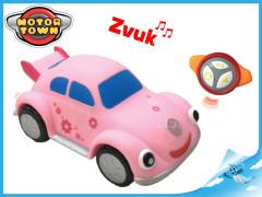 R/C Volkswagen Beetle růžový 18cm se zvukem 18m+