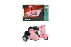 Motorka side růžová kovová 12cm na zpětný chod