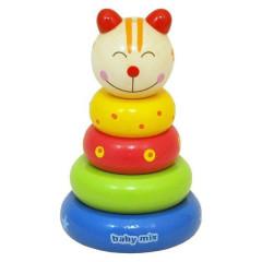 Dřevěná hračka Baby Mix - věž 18+ Kočička