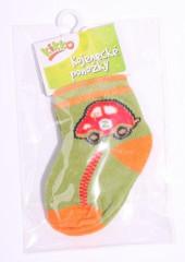 Kojenecké ponožky bavlna KIKKO 0 - 6 m AUTO zeleno-oranžové typ 2