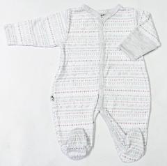Overálek celorozepínací LLLL šedo-růžový s rukavičkami Baby Service