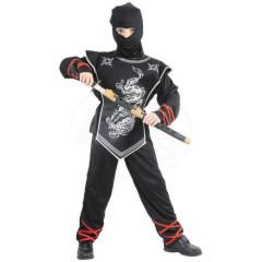 Karnevalový kostým - Stříbrný ninja, Vel. 120-130 cm