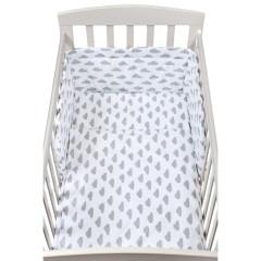 3-dílné ložní povlečení New Baby 90 x 120 cm obláčky šedé