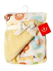 Dětská deka z mikrovlákna zoo žluto-smetanová 76x102 cm Bobobaby