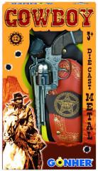 Kovbojská sada kovový revolver + šerifská hvězda 12 ran