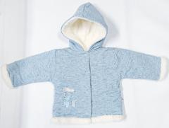 Zimní kabátek s kapucí wellsoft zateplený melírek modrý Baby Service