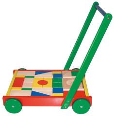 Dřevěný vozík velký s kostkami - chodítko