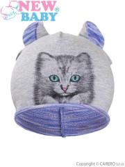 Podzimní dětská čepička New Baby Kočička fialová vel. 110