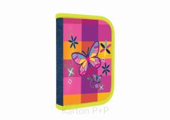Jednopatrový penál s chlopní plný Motýl