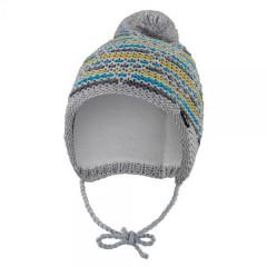 Čepice pletená zavazovací čárky Outlast® Šedomodrožlutá