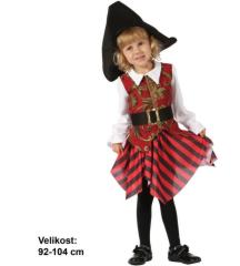 Kostým na karneval - pirátka, 92 -104 cm